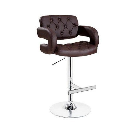 T1084 - Eco-Brown-Leather Contemporary Bar Stool