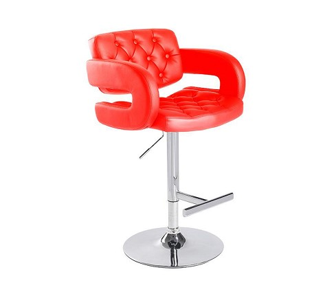 T1084 - Eco-Red-Leather Contemporary Bar Stool