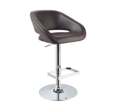 T1173 - Eco-Brown-Leather Contemporary Bar Stool