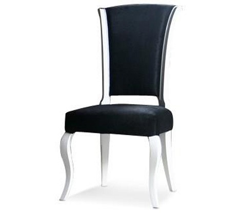 Mia - Black Fabric Side Chair with White Lacquer Frame