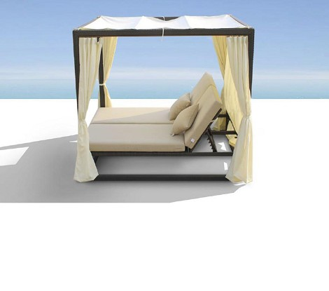 Redondo - Patio Canopy Day Bed with Dual Adjustable Backrests