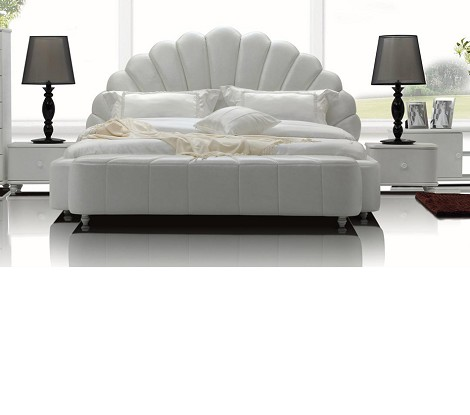 Whelk - White Modern Leatherette Bed