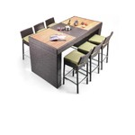 Pier - Table and 6 Bar Stool Patio Bar Set