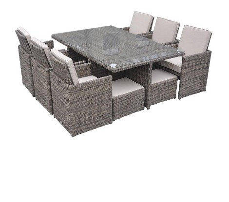 Barcelona - Rectangular Compact Table, 6 Fold-out Chairs, and 6 Individual Ottoman Patio Set