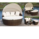 Sunny - Round Patio Day Bed With Retractable Sun Cover