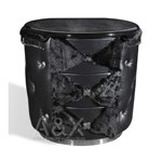 Armani Black Ermine Leather Nightstand
