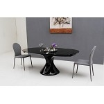 Savor Modern Round Extend-able Black Lacquer Dining Table