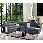 Divani Casa Polaris - Contemporary Bonded Leather Sectional Sofa with Lights