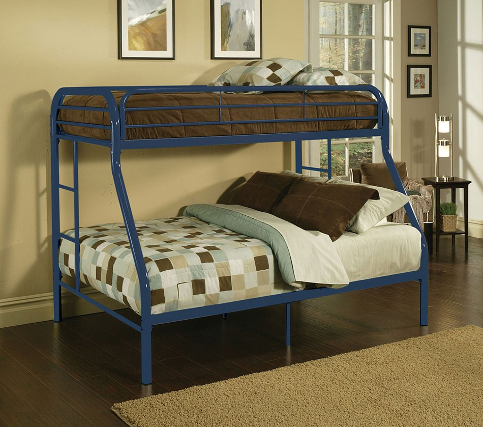 furniture for small bedroom dreamfurniture 02053 blue finish bunk bed 15365