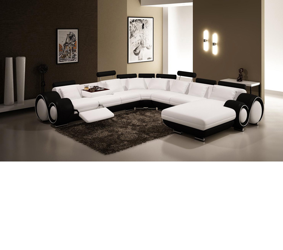 Black And White Leather Sectional Sofa
