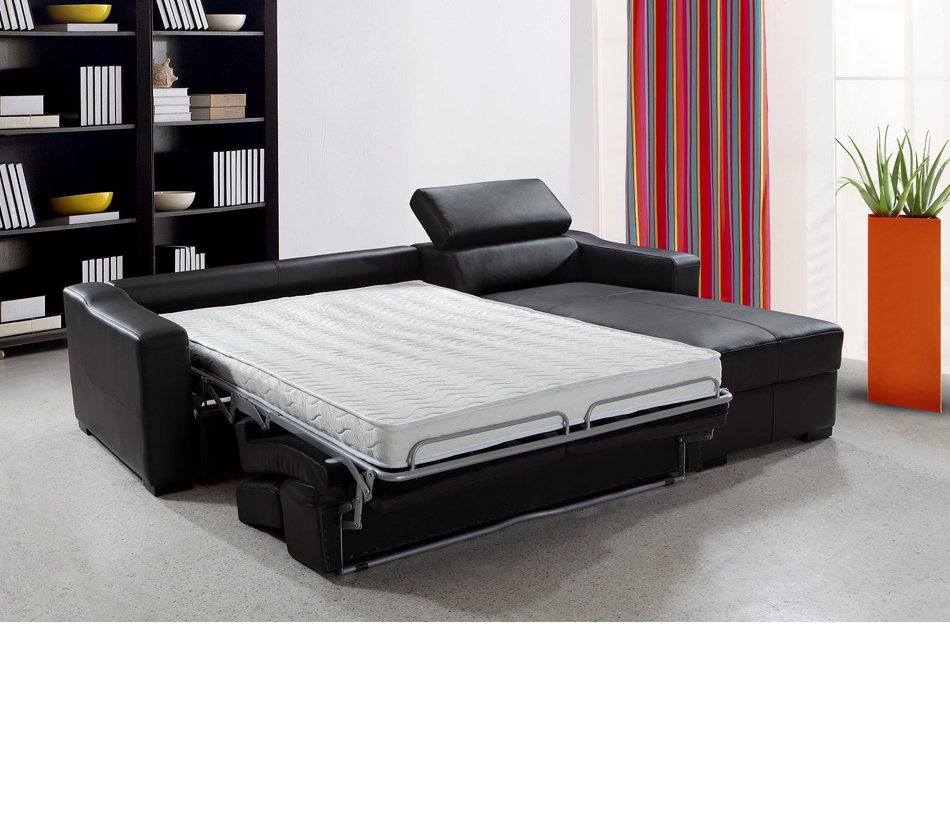 Reversible Leather Sectional Sofa Bed