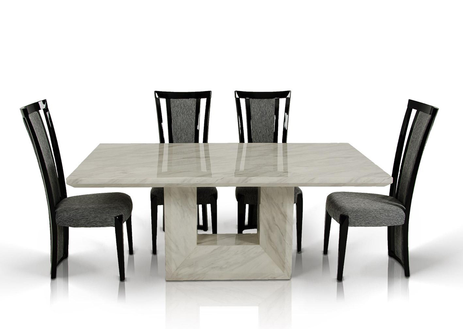Dreamfurniture Com Mozart Modern Marble Dining Set
