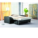 0926 - Fold-Out Espresso Leatherette Sofa Bed
