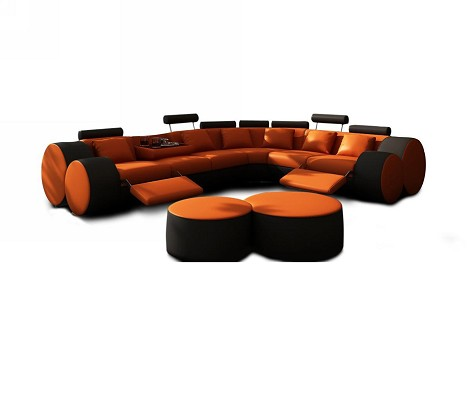 3087 - Modern Orange and Black Leather Sectional Sofa & Ottoman