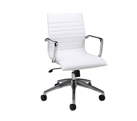 Janette Office Chair in chrome/aluminum upholstered in Pu Ivory