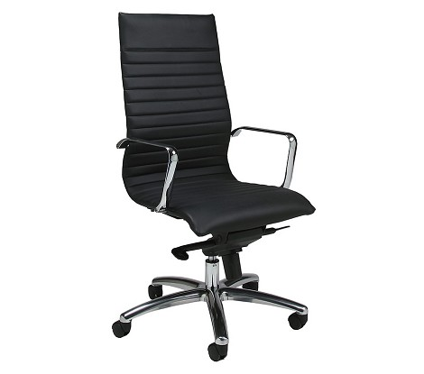Kaffina Office Chair  in chrome/aluminum upholstered in Pu Black