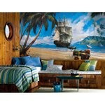 Pirate Chair Rail Prepasted Mural 6' X 10.5' - Ultra-Strippable