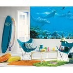 Dolphin Chair Rail Prepasted Mural 6' X 10.5' - Ultra-Strippable