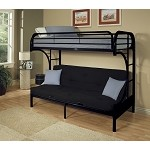 02091 Black Finish Twin/Full Futon & Bunk Bed
