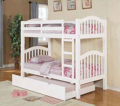 02356 White Finish Twin/Twin Bunk Bed with Trundle