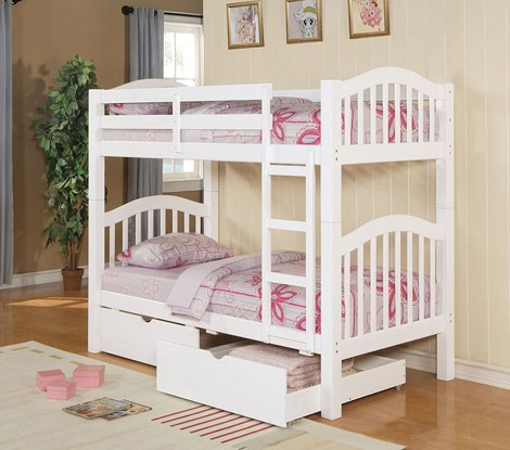 02357 White Finish Twin/Twin Bunk Bed with storage