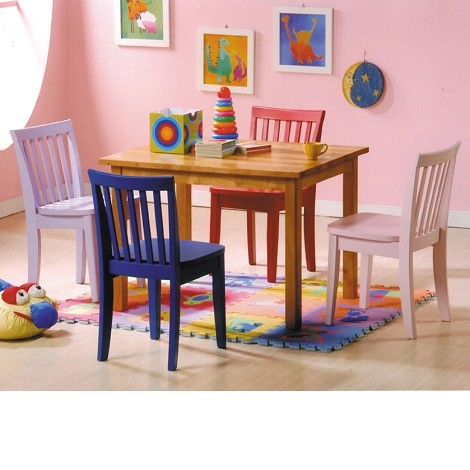 4002 5 Piece Kids Dining Set In Multi Colored Finish