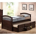 San Marino Dark Walnut Finish Bed with Trundle & Drawers