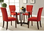 Baldwin 8mm Glass Top & Microfiber Dining Table Set