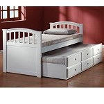 San Marino White Finish Bed with Trundle & Drawers