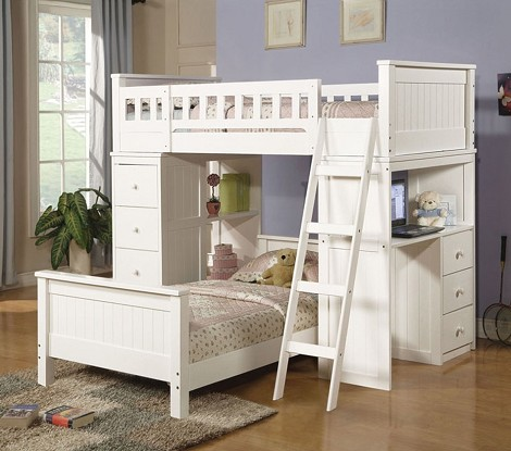 Willoughby White Finish Twin/Twin Loft Bed