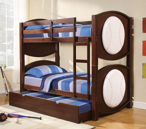 All Star Baseball Espresso Finish Twin/Twin Bunk Bed with trundle