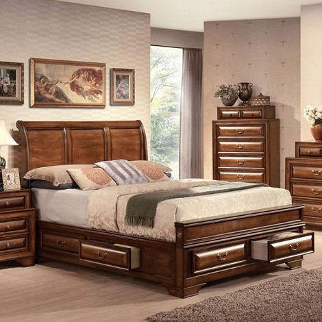 Konance Brown Cherry Finish Bed