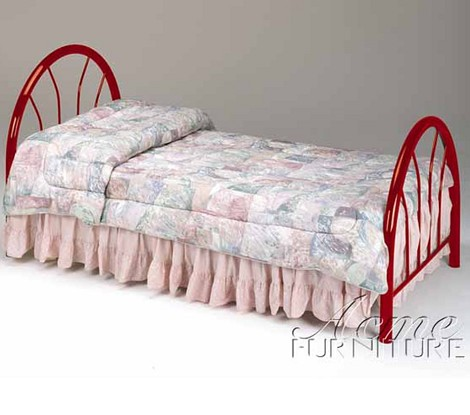 02054 Red Finish Twin Size Headboard & Footboard