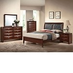 Ireland Black PU / Espresso Finish Bedroom Set