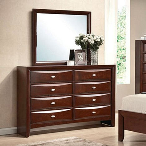 Ireland Black PU / Espresso Finish Dresser & Mirror