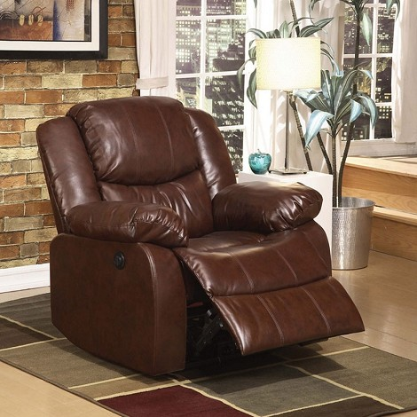 Fullerton Power Motion Brown Bonded Leather Recliner
