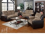 50450 Oisin Light Brown Corduroy & Dark Brown PU Sofa Set