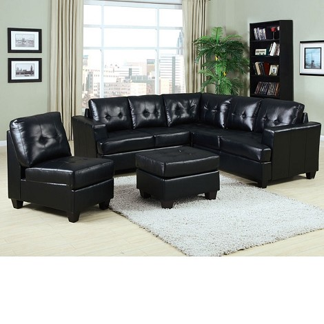 50490 Platinum Black Bonded Leather Sectional Sofa Set