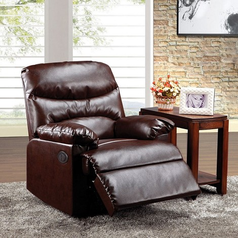 Arcadia Power Motion Cracked Brown Bonded Leather Recliner