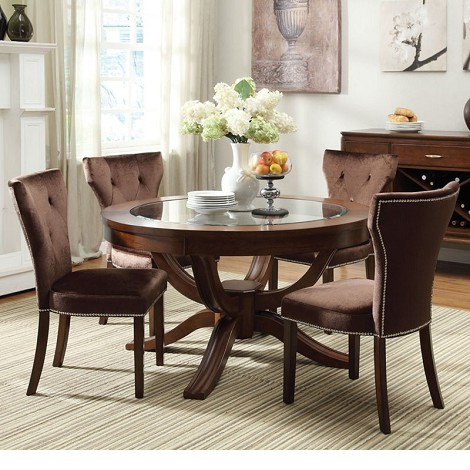 Kingston Brown Cherry Finish Glass Top Pedestal Dining Set