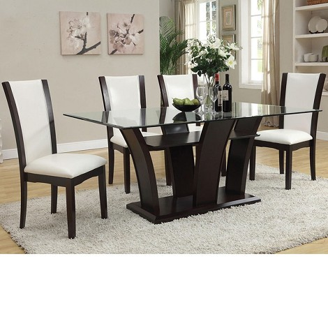 Malik Espresso Finish /White Bycast Dining Table Set