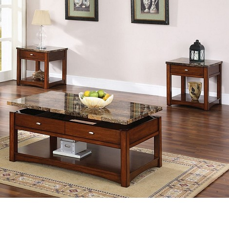Jas Cherry Finish Coffee/End Table w/Faux Marble Lift Top Set
