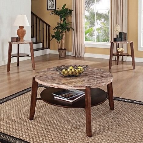 Nadav Faux Marble Top 3pc PACK Coffee/End Table Set