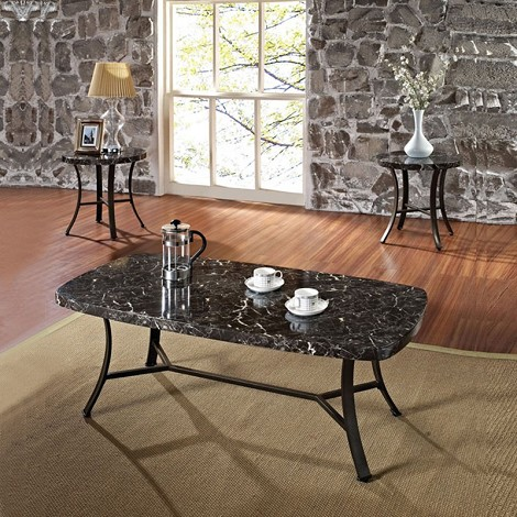 80252 Daisy Black Faux Marble Top 3pc Pack Occasional Table Set