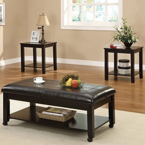 80272 Ibrahim Capuccino Finish 3pc Pack Occasional Table Set