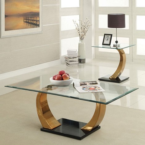 80280 Camille Chrome Finish Glass Top 3pc Coffee/End Table Set