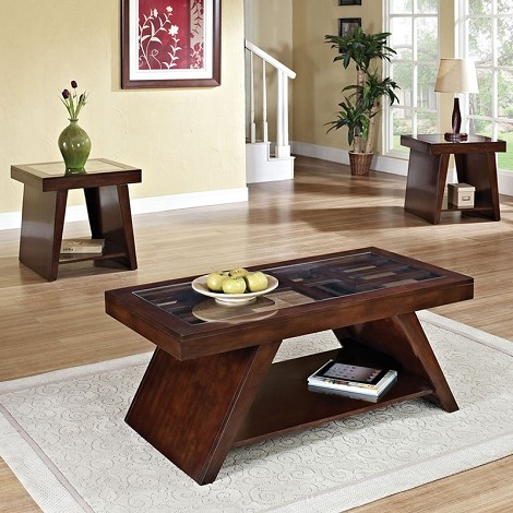 80310 Jelani Dark Brown Cherry Finish Occasional 3PC Table Set