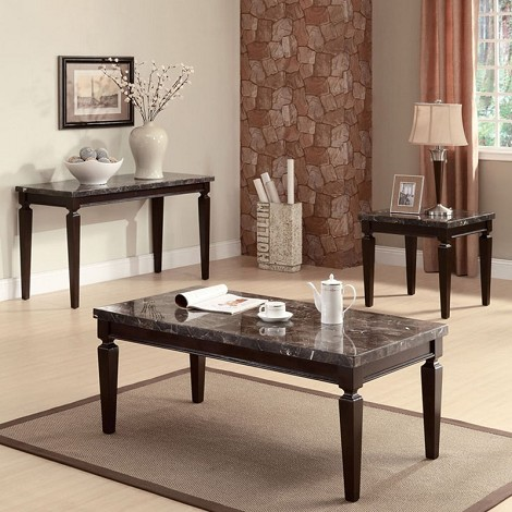 80485 Agatha Black Marble Top Occasional 3PC Table Set