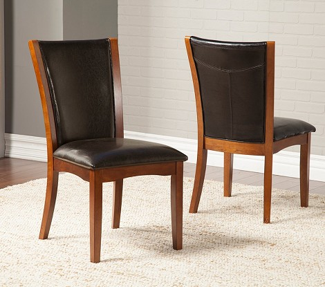 Delano Side Chair With Faux Leather Back And Cushion (Set Of 2)