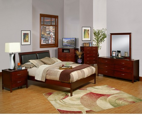 Newport Full Size Platform Bed With Faux Leather Headboard
